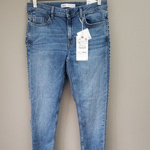 Zara Mid Rise Skinny Jeans Size 4 Studded New